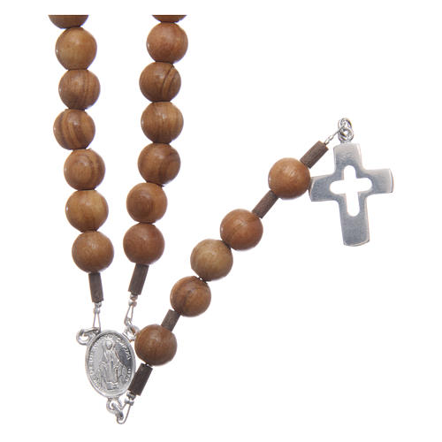 Olive wood rosary beads for men with sterling silver cross and adjustable chain 1