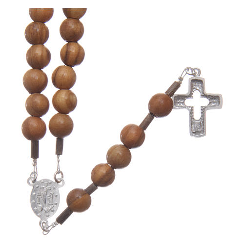 Olive wood rosary beads for men with sterling silver cross and adjustable chain 2