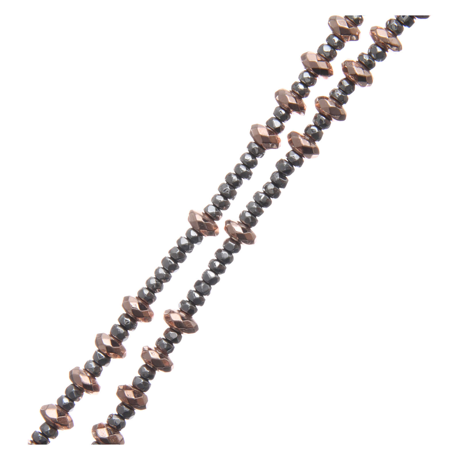 Rosario plata 925 cable bolitas arandelas hematites rosada tallada 4