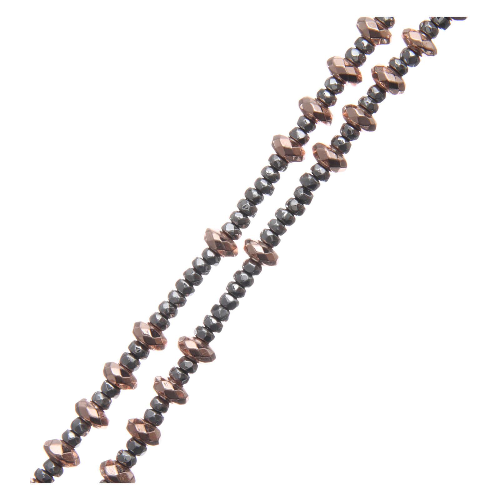 Różaniec srebro 925 linka krążki kulki hematyt rose' szlifowany 4