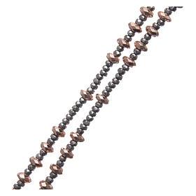 Różaniec srebro 925 linka krążki kulki hematyt rose' szlifowany s3