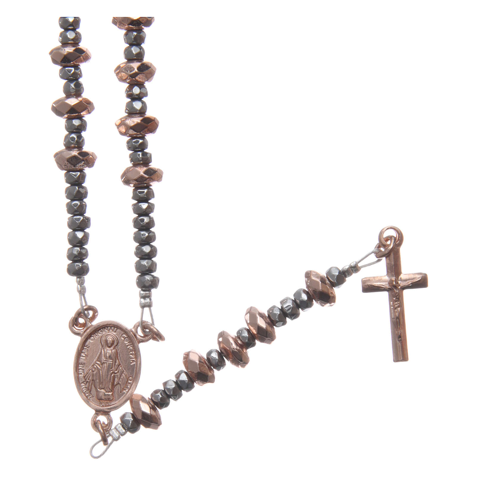 Rosary in 925 sterling silver with rosè multifaceted hematite washers 4