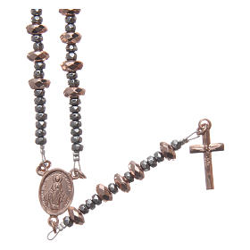 Rosary in 925 sterling silver with rosè multifaceted hematite washers s1