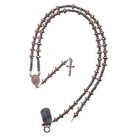 Rosary in 925 sterling silver with rosè multifaceted hematite washers s4