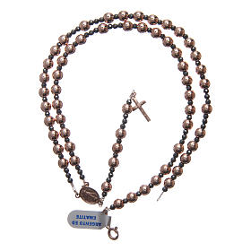 Rosary in 925 sterling silver with smooth pearl beads rosè 6 mm and 3 mm multifaceted beads s4