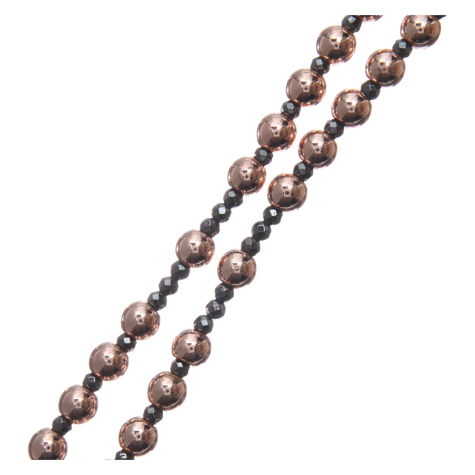 Rosario argento 925 cavetto palline lisce ematite rosé 6 mm e sfacc 3 mm 4
