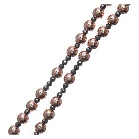 Rosario argento 925 cavetto palline lisce ematite rosé 6 mm e sfacc 3 mm s3