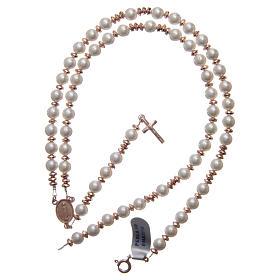 Rosario argento 925 cavetto pallina perla 6 mm rondelle ematite rosé sfaccettate s4