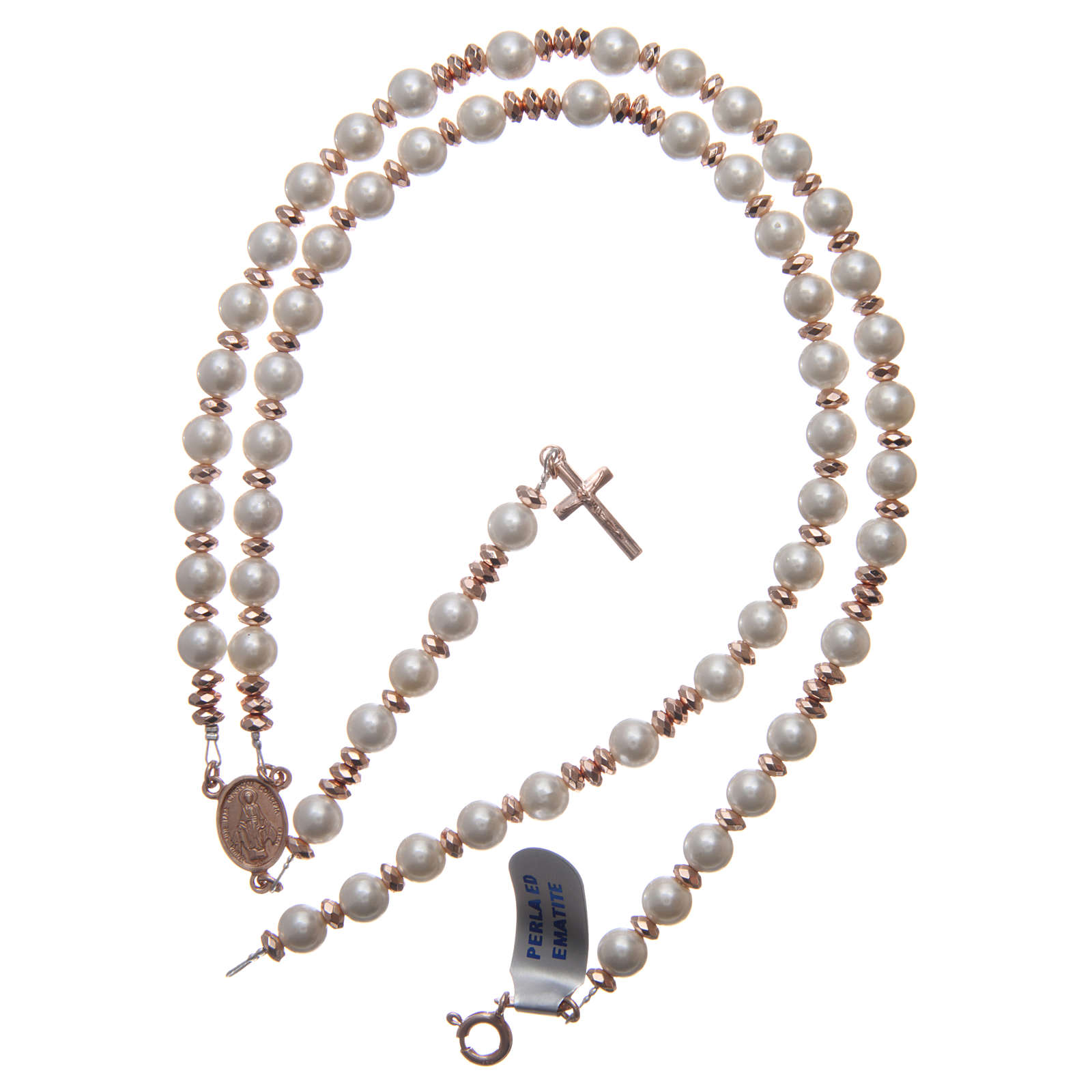Rosary in 925 sterling silver with pearl beads and rosè multifaceted hematite washers 4