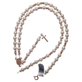 Rosary in 925 sterling silver with pearl beads and rosè multifaceted hematite washers s4
