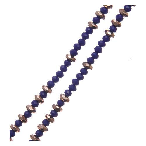 Rosario arg 925 cavetto palline cristallo blu cipollina rondelle ematite rosé sfaccettata 3