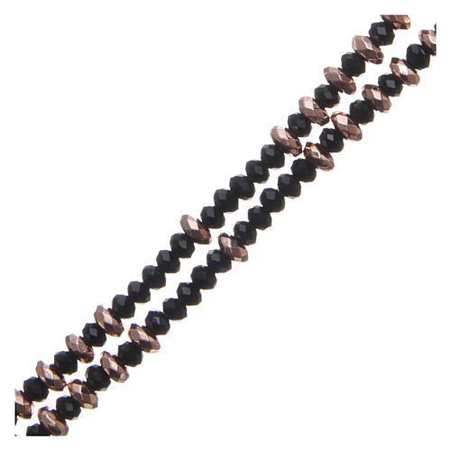 Rosario arg 925 cavetto palline cristallo nero cipollina rondelle ematite rosé sfaccettata 3