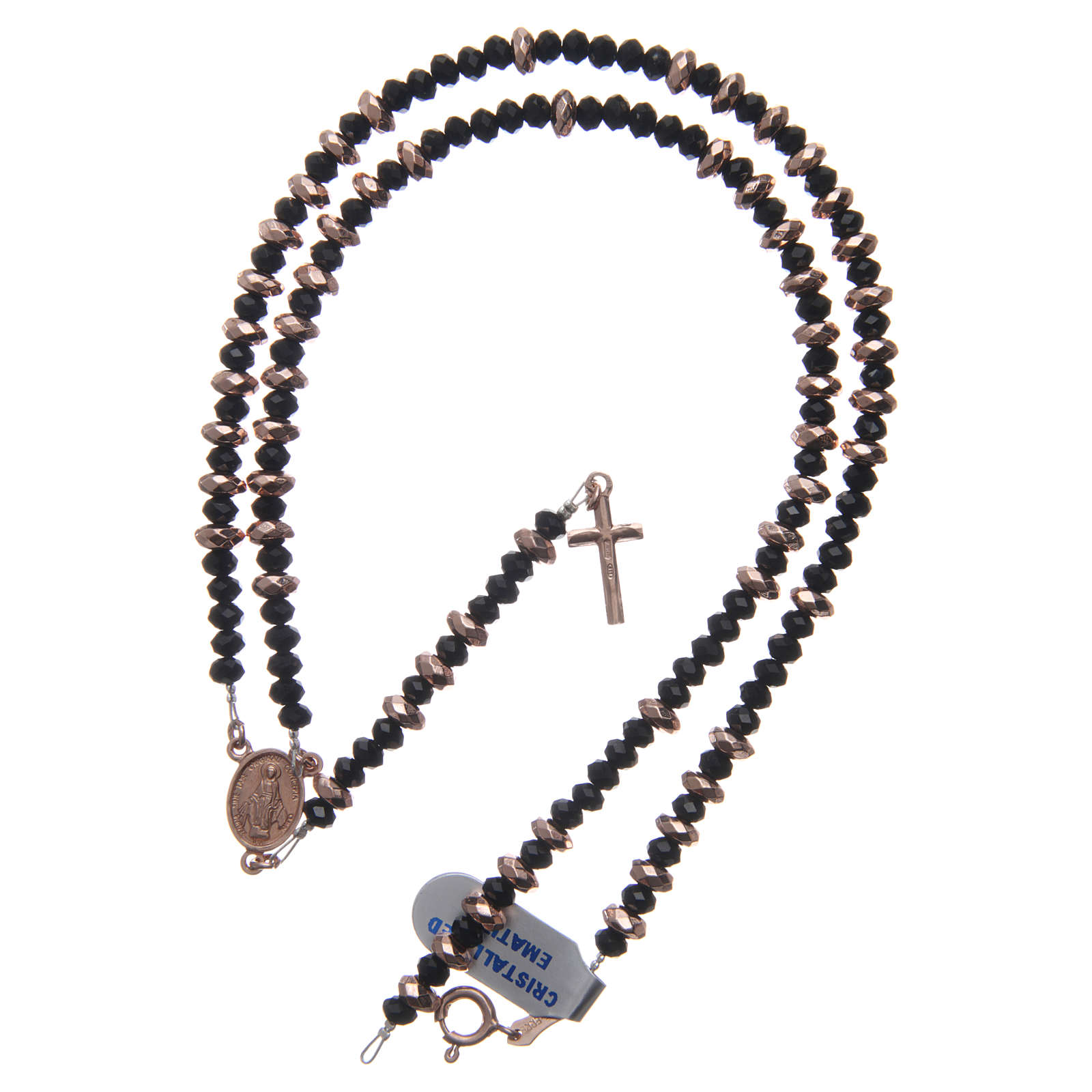 Rosary in 925 sterling silver, with black crystal and cipollino marble beads and multifaceted rosè hematite washers 4