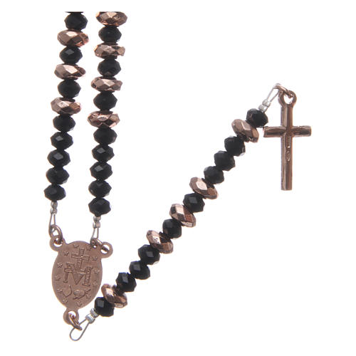Rosary in 925 sterling silver, with black crystal and cipollino marble beads and multifaceted rosè hematite washers 2