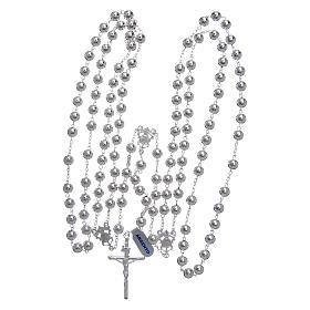 Mexican wedding rosary in 925 sterling silver with shiny beads and spear cross s4