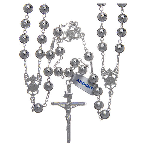 Mexican wedding rosary in 925 sterling silver with shiny beads and spear cross 1