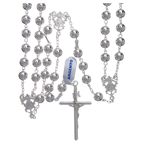 Mexican wedding rosary in 925 sterling silver with shiny beads and spear cross 2