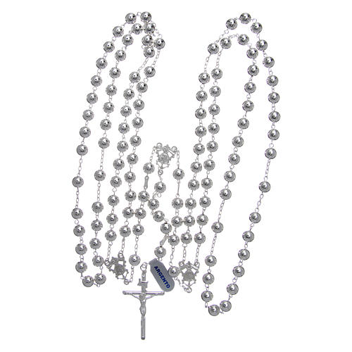 Mexican wedding rosary in 925 sterling silver with shiny beads and spear cross 4