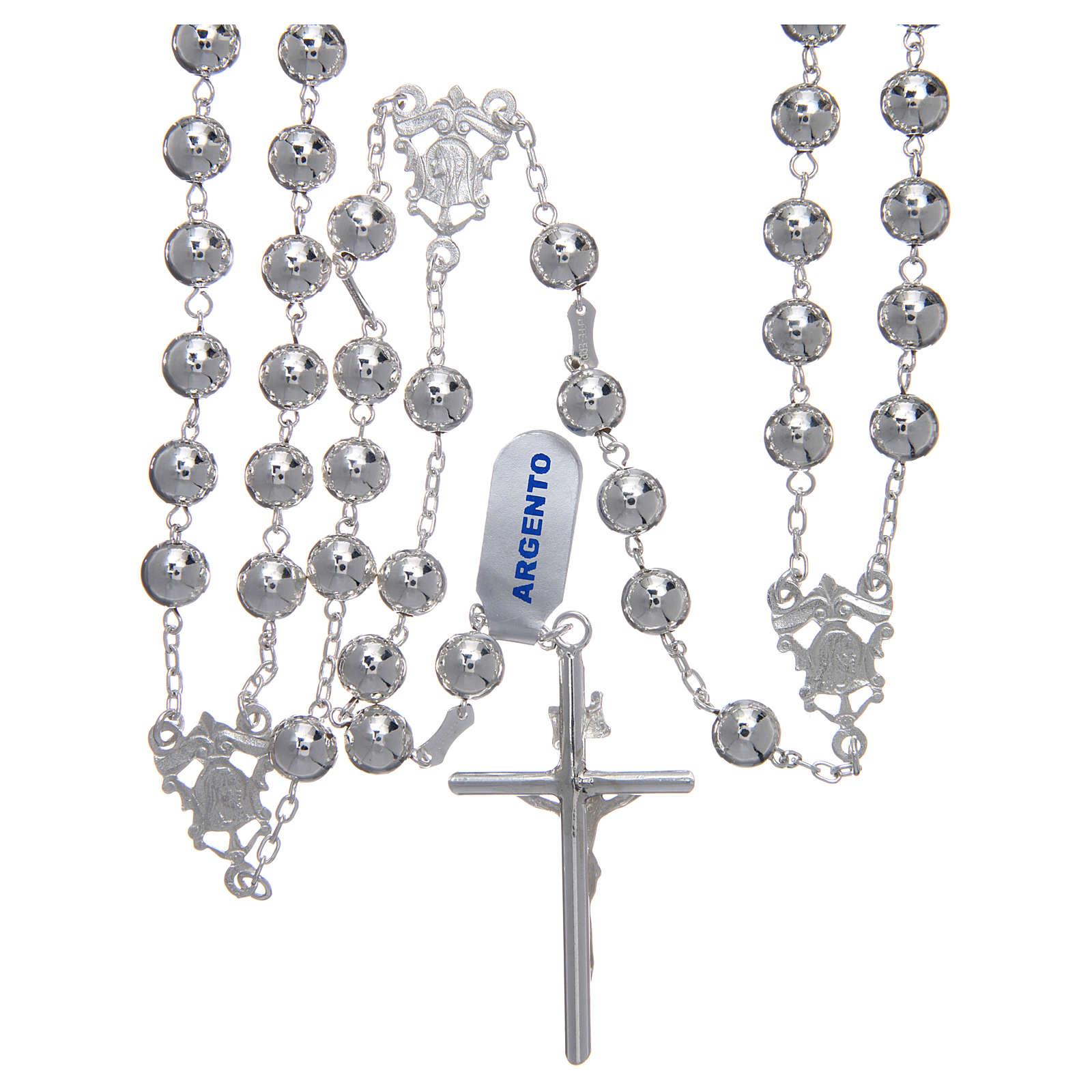 Rosario messicano del matrimonio argento 925 pallina lucida croce tronchetto 4