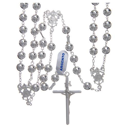 Rosario messicano del matrimonio argento 925 pallina lucida croce tronchetto 2