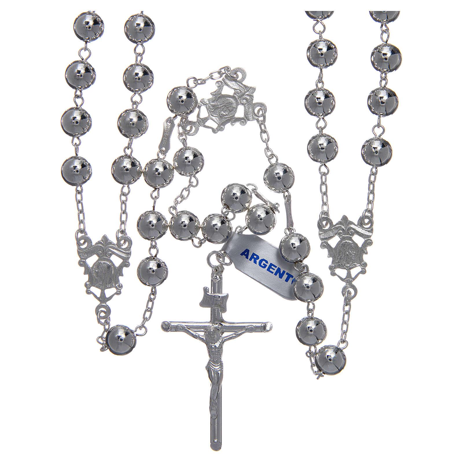 Różaniec meksykański na ślub srebro 925 kulka polerowana krzyż belki drzewa 4