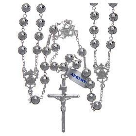 Różaniec meksykański na ślub srebro 925 kulka polerowana krzyż belki drzewa s1