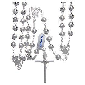Różaniec meksykański na ślub srebro 925 kulka polerowana krzyż belki drzewa s2