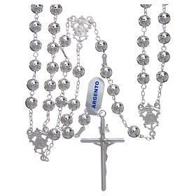 Mexican wedding rosary in 925 sterling silver with shiny beads and spear cross s2