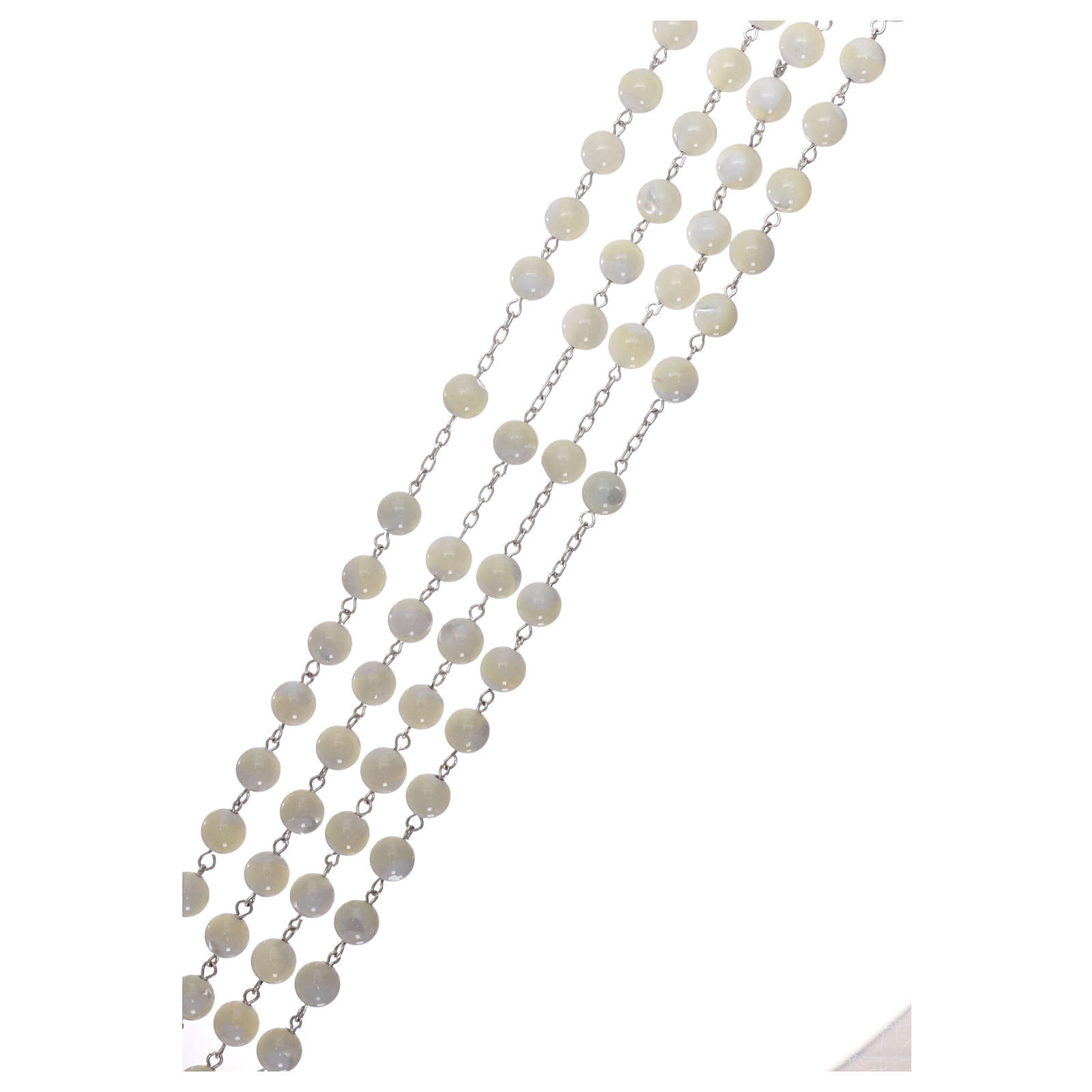 Rosario messicano del matrimonio argento 925 pallino madreperla croce tronchetto 8 mm 4