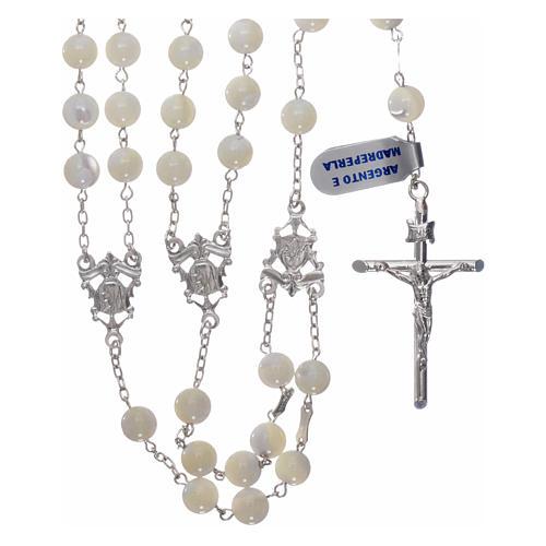 Rosario messicano del matrimonio argento 925 pallino madreperla croce tronchetto 8 mm 1