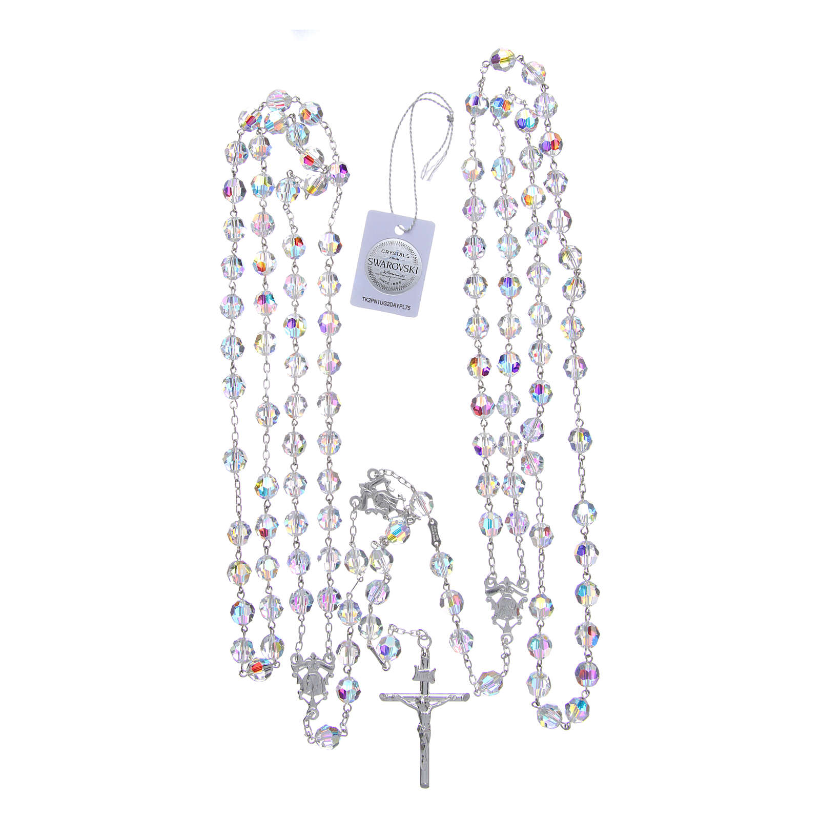 Mexican wedding rosary in 925 sterling silver, 8 mm Swarovski beads aurora borealis 4