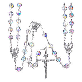 Mexican wedding rosary in 925 sterling silver, 8 mm Swarovski beads aurora borealis s1