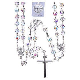 Mexican wedding rosary in 925 sterling silver, 8 mm Swarovski beads aurora borealis s2