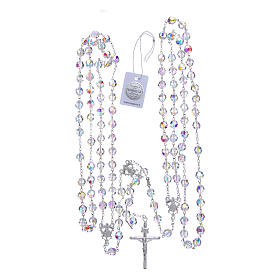 Mexican wedding rosary in 925 sterling silver, 8 mm Swarovski beads aurora borealis s4
