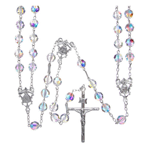 Mexican wedding rosary in 925 sterling silver, 8 mm Swarovski beads aurora borealis 1