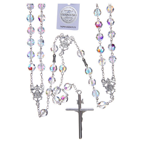 Mexican wedding rosary in 925 sterling silver, 8 mm Swarovski beads aurora borealis 2