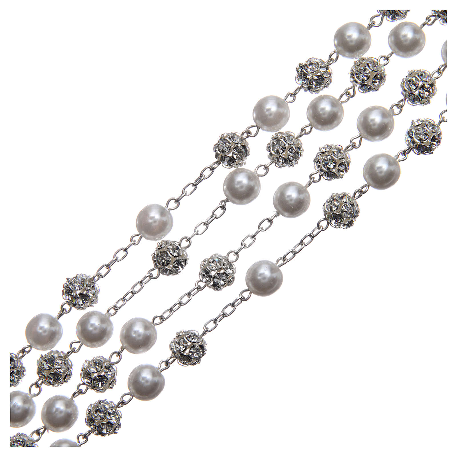 Rosario messicano del matrimonio argento 925 palline perla e strassball 8 mm 4