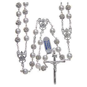 Rosario messicano del matrimonio argento 925 palline perla e strassball 8 mm s1
