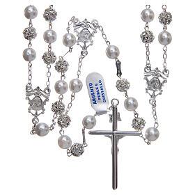 Rosario messicano del matrimonio argento 925 palline perla e strassball 8 mm s2