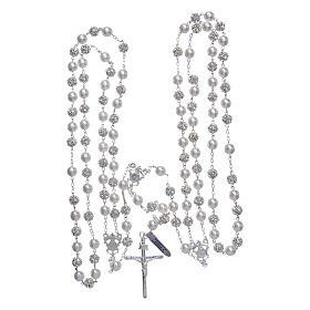 Rosario messicano del matrimonio argento 925 palline perla e strassball 8 mm s4