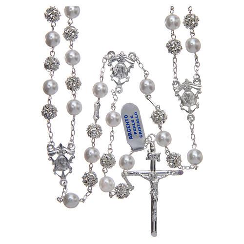 Rosario messicano del matrimonio argento 925 palline perla e strassball 8 mm 1