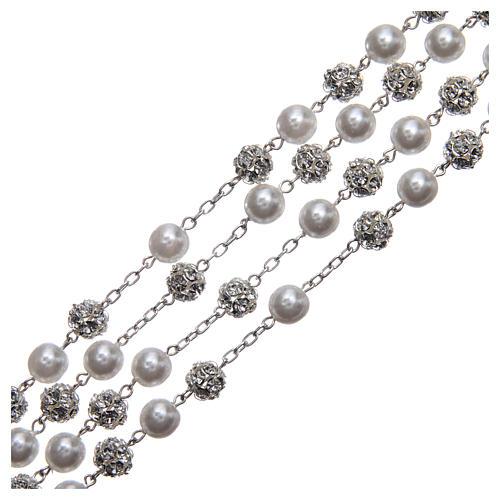 Rosario messicano del matrimonio argento 925 palline perla e strassball 8 mm 3
