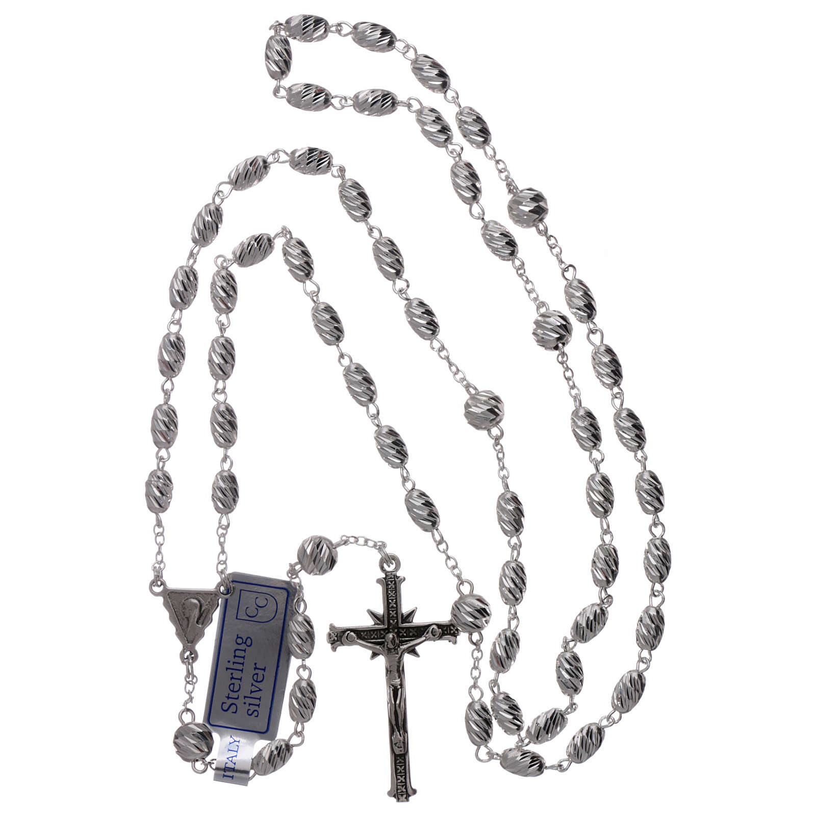Rosary in 925 silver, wheat beads 7x5 mm 4