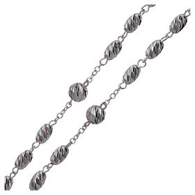 Rosary in 925 silver, wheat beads 7x5 mm s3