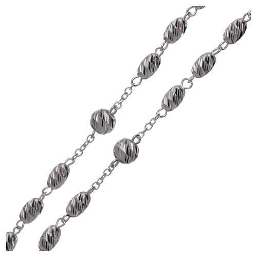 Rosario argento 925 grani spiga 7x5 mm 3