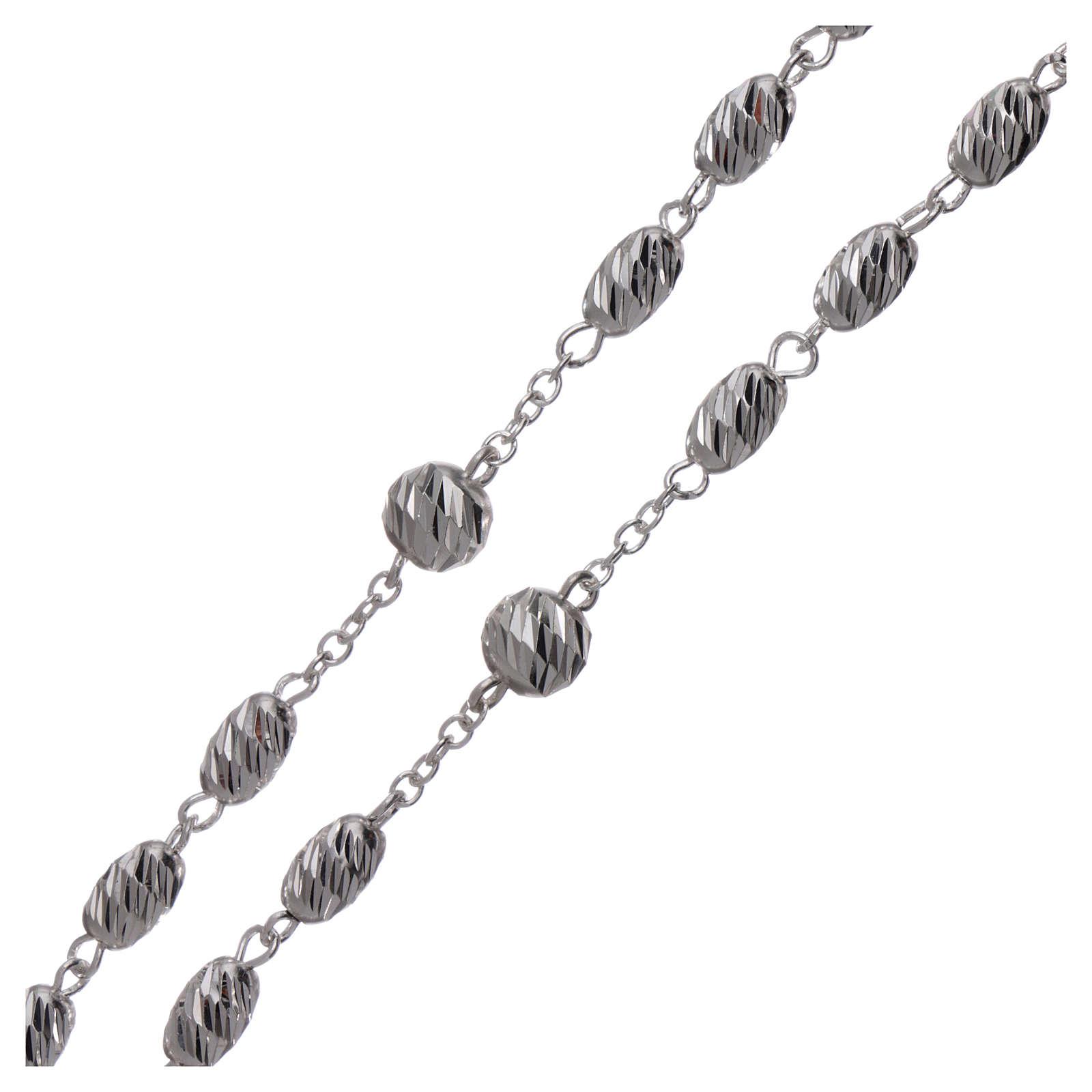 Terço prata 925 contas espiga 7x5 mm 4