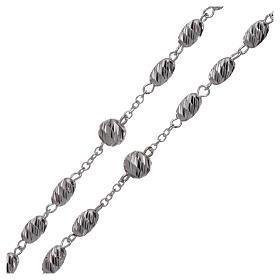 Terço prata 925 contas espiga 7x5 mm s3