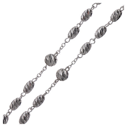 Terço prata 925 contas espiga 7x5 mm 3