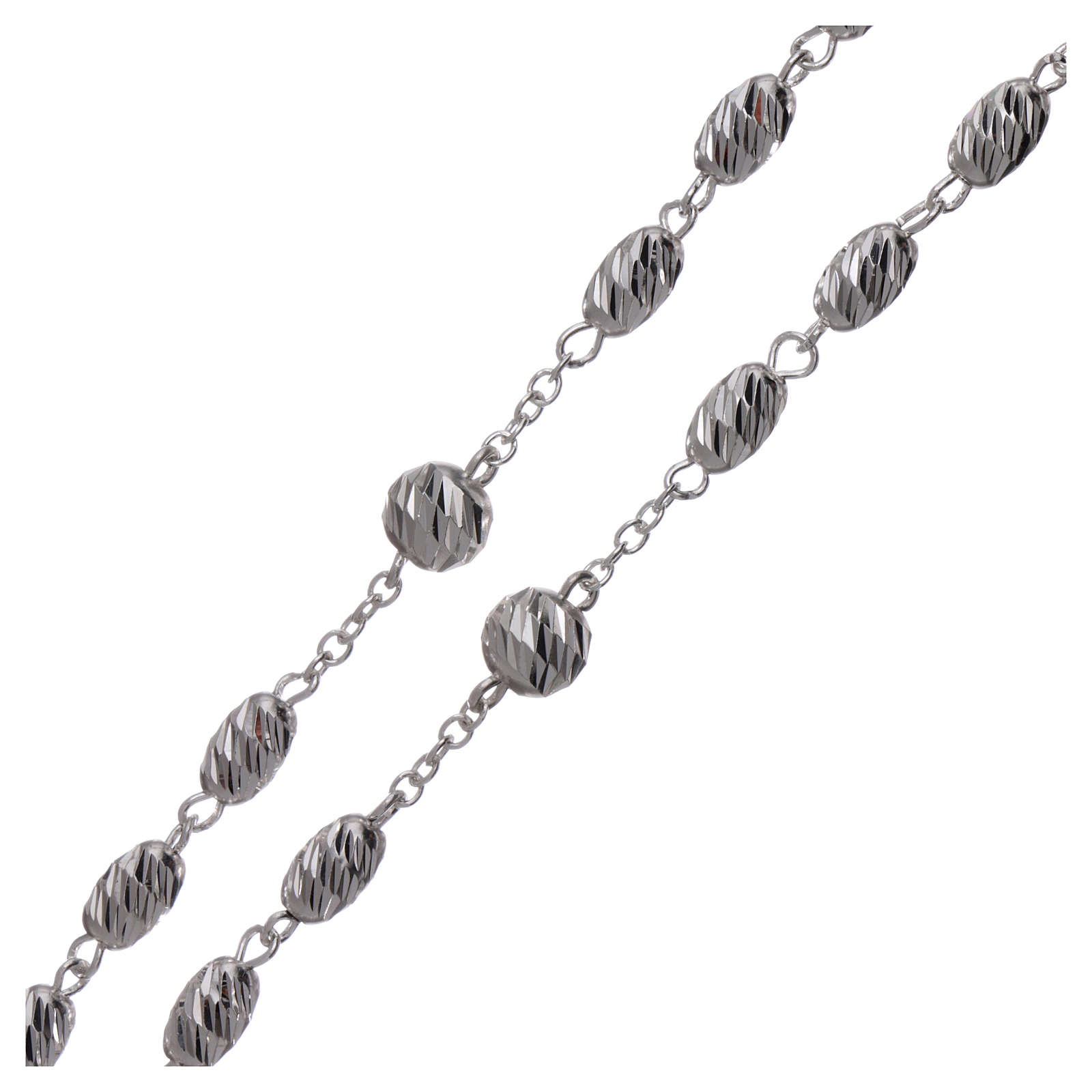 Sterling silver rosary wheat shaped beads 7x5 mm 4