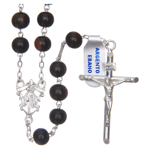 Rosary in 925 sterling silver and ebony 8 mm 1
